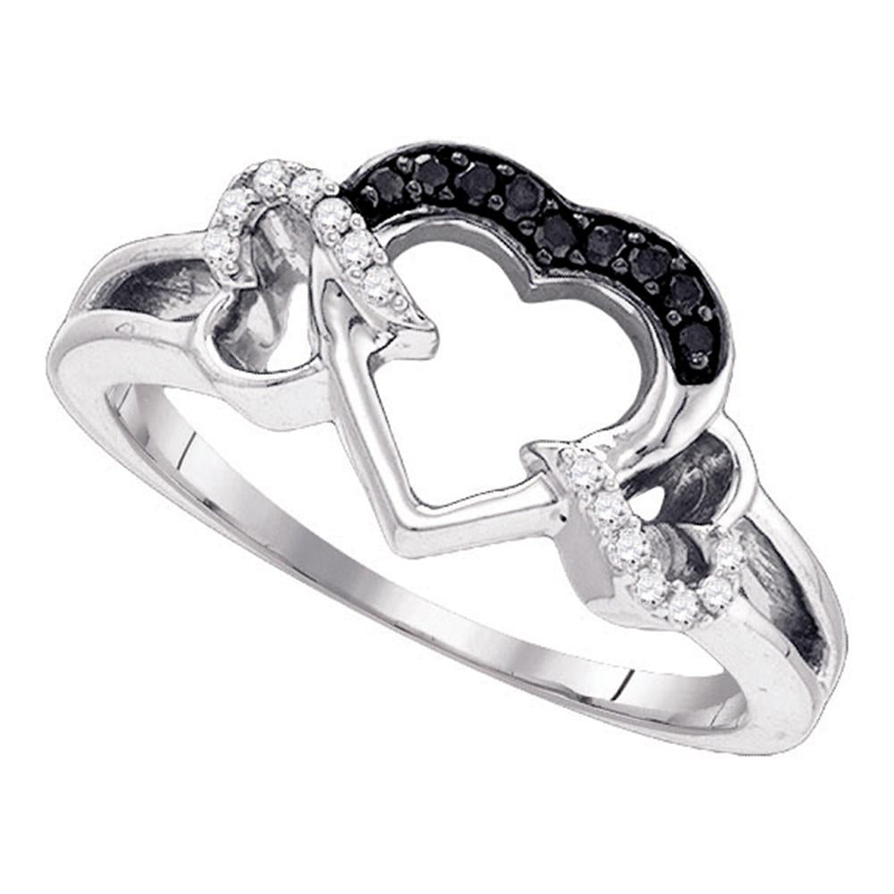 Sterling Silver Womens Round Black Color Enhanced Diamond Heart Love Ring 1/8 Cttw