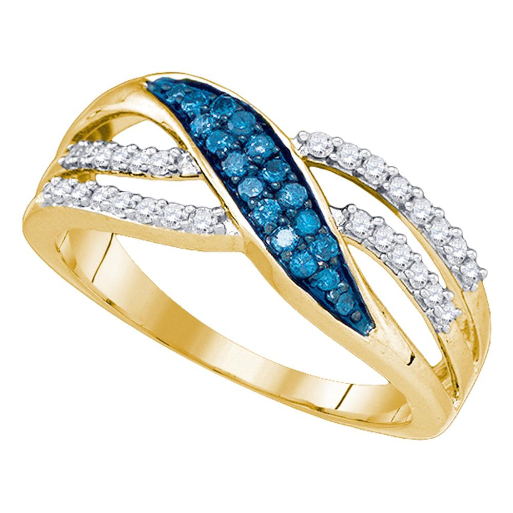 10kt Yellow Gold Womens Round Blue Color Enhanced Diamond Band Ring 1/3 Cttw