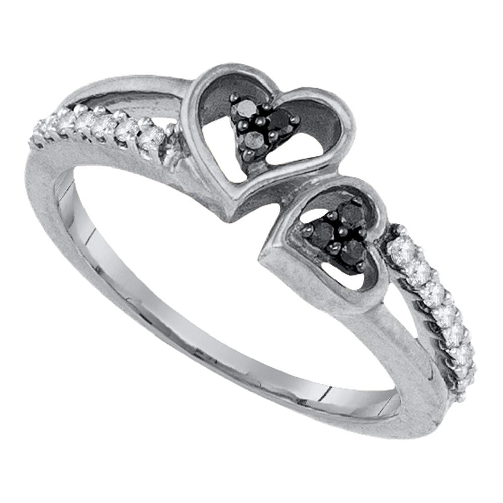 Sterling Silver Womens Round Black Color Enhanced Diamond Double Heart Ring 1/5 Cttw