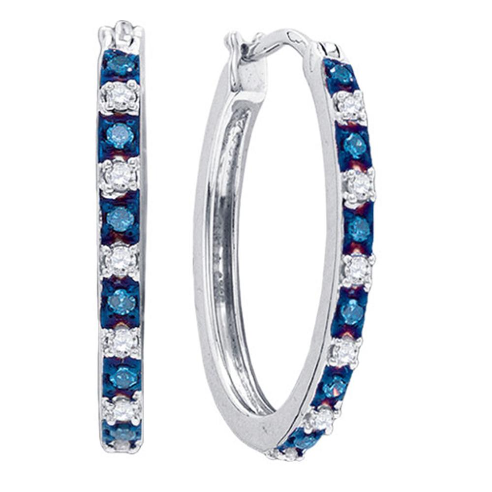 Sterling Silver Womens Round Blue Color Enhanced Diamond Hoop Earrings 1/4 Cttw