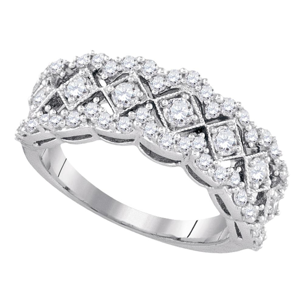 14kt White Gold Womens Round Diamond Diagonal Square Band Ring 1.00 Cttw