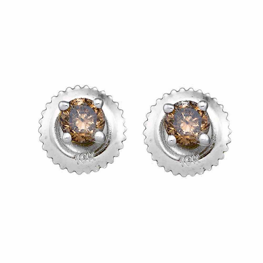 10kt White Gold Womens Round Brown Color Enhanced Diamond Solitaire Earrings 1.00 Cttw