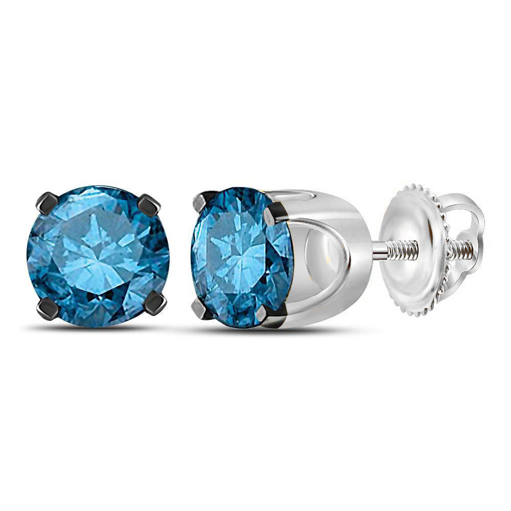 10kt White Gold Womens Round Blue Color Enhanced Diamond Solitaire Stud Earrings 1.00 Cttw