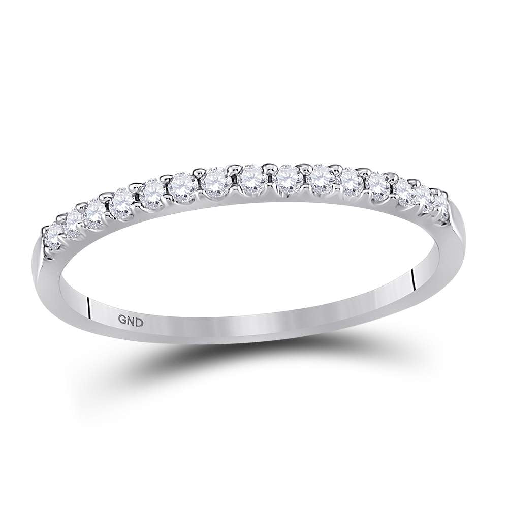 14k White Gold Round Diamond Womens Slender Stackable Size 10 Wedding Band 1/6 Cttw