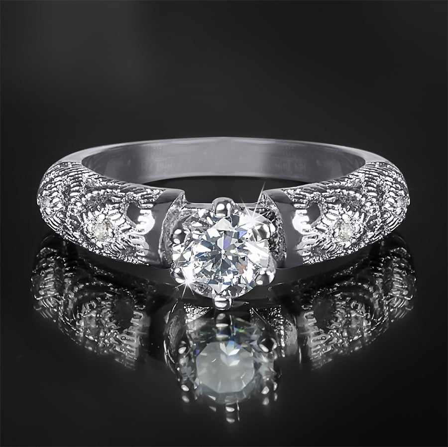 0.75 Carat CT Women's Vintage Engagement RING White Gold Plated Size 5-9