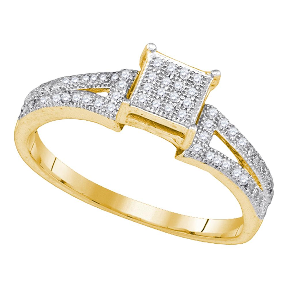 10kt Yellow Gold Womens Elevated Diamond Square Cluster Bridal Wedding Engagement Ring 1/6 Cttw