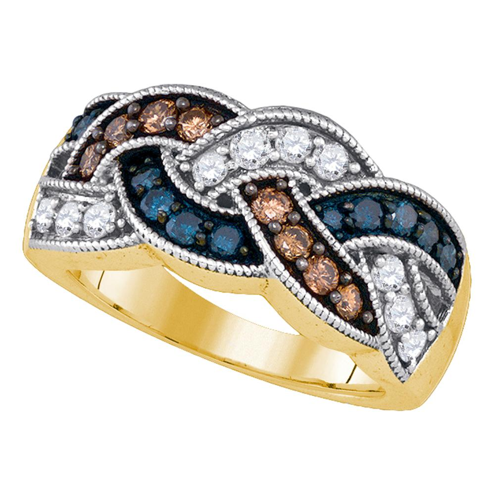 10kt Yellow Gold Womens Round Brown Blue Color Enhanced Diamond Woven Band Ring 1.00 Cttw