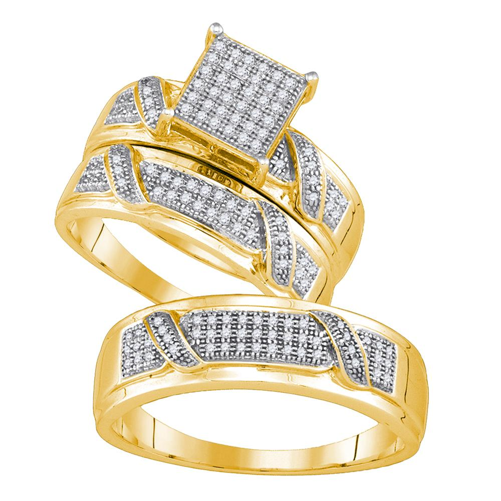 Yellow-tone Sterling Silver His Hers Round Diamond Cluster Matching Bridal Wedding Ring Band Set 1/3 Cttw