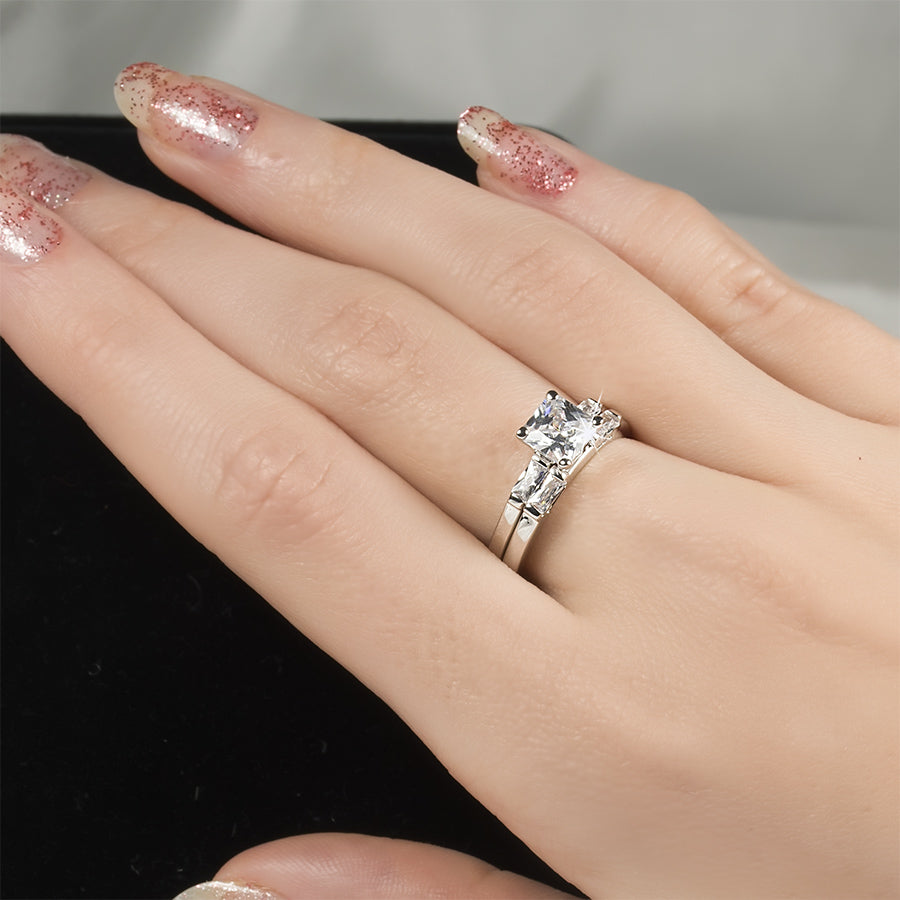 Engagement Ring And Wedding Band.1 2 Ct Princess Cut Engagement Ring Wedding Band Set White Gold Plated Size 6 8