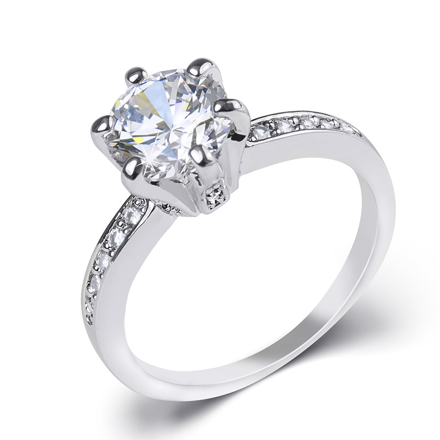 2 Carat CT Promise Engagement RING Round Cut White Gold Plated SIZE 5-9