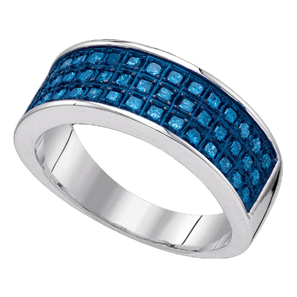 Sterling Silver Womens Round Blue Color Enhanced Diamond Triple Row Band Ring 5/8 Cttw