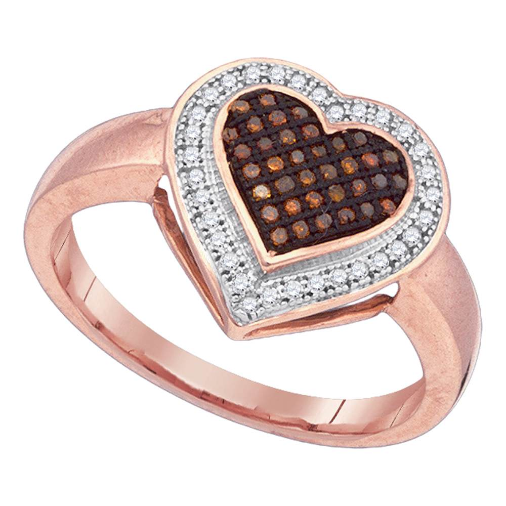 10kt Rose Gold Womens Round Red Color Enhanced Diamond Halo Heart Cluster Ring 1/5 Cttw