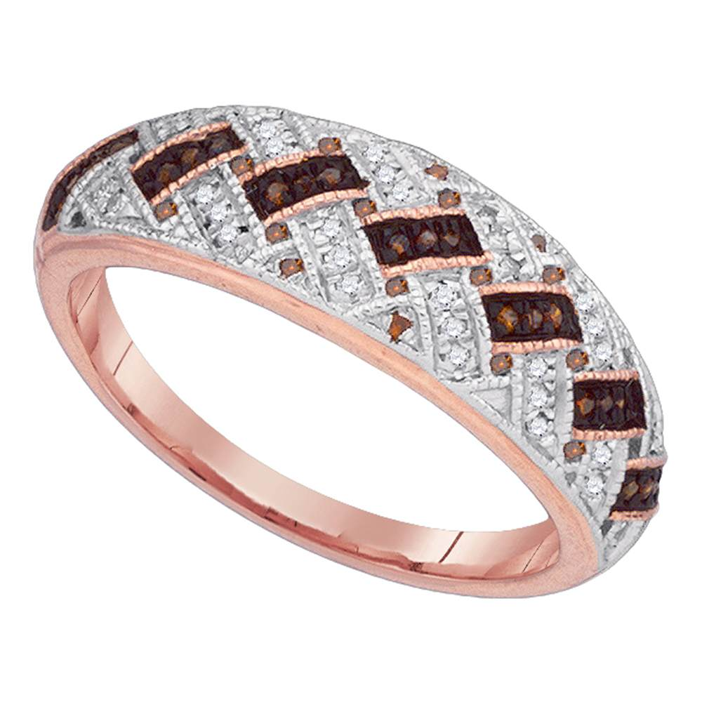 10kt Rose Gold Womens Round Red Color Enhanced Diamond Band Ring 1/6 Cttw