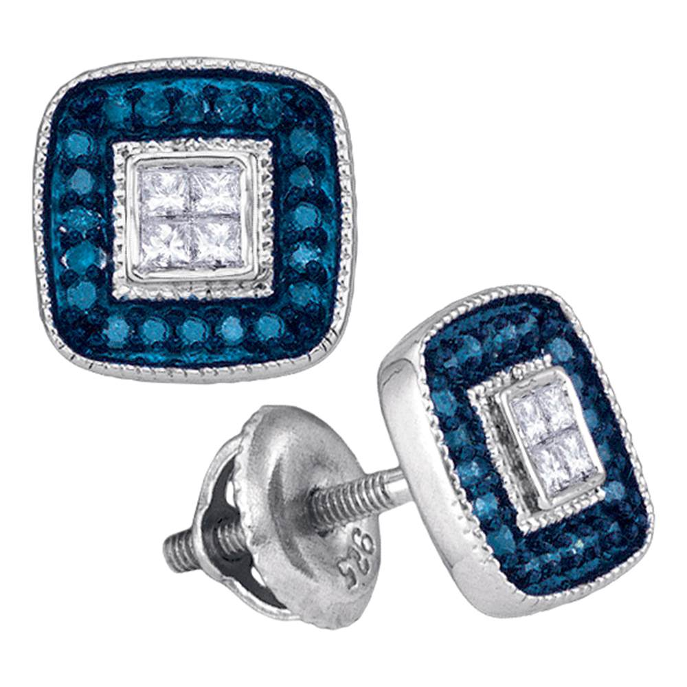 10kt White Gold Womens Round Blue Color Enhanced Diamond Square Frame Cluster Earrings 1/3 Cttw