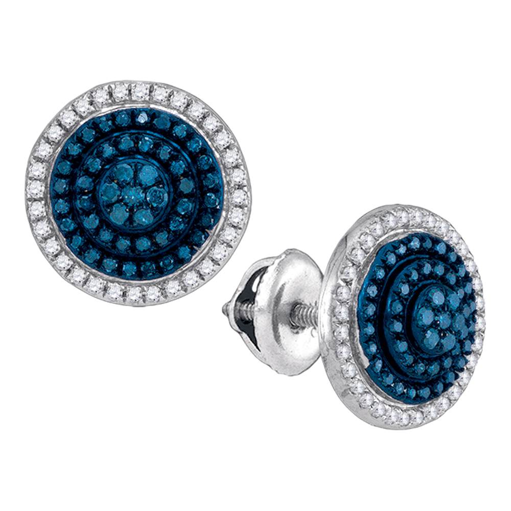 10kt White Gold Womens Round Blue Color Enhanced Diamond Concentric Cluster Earrings 1/2 Cttw