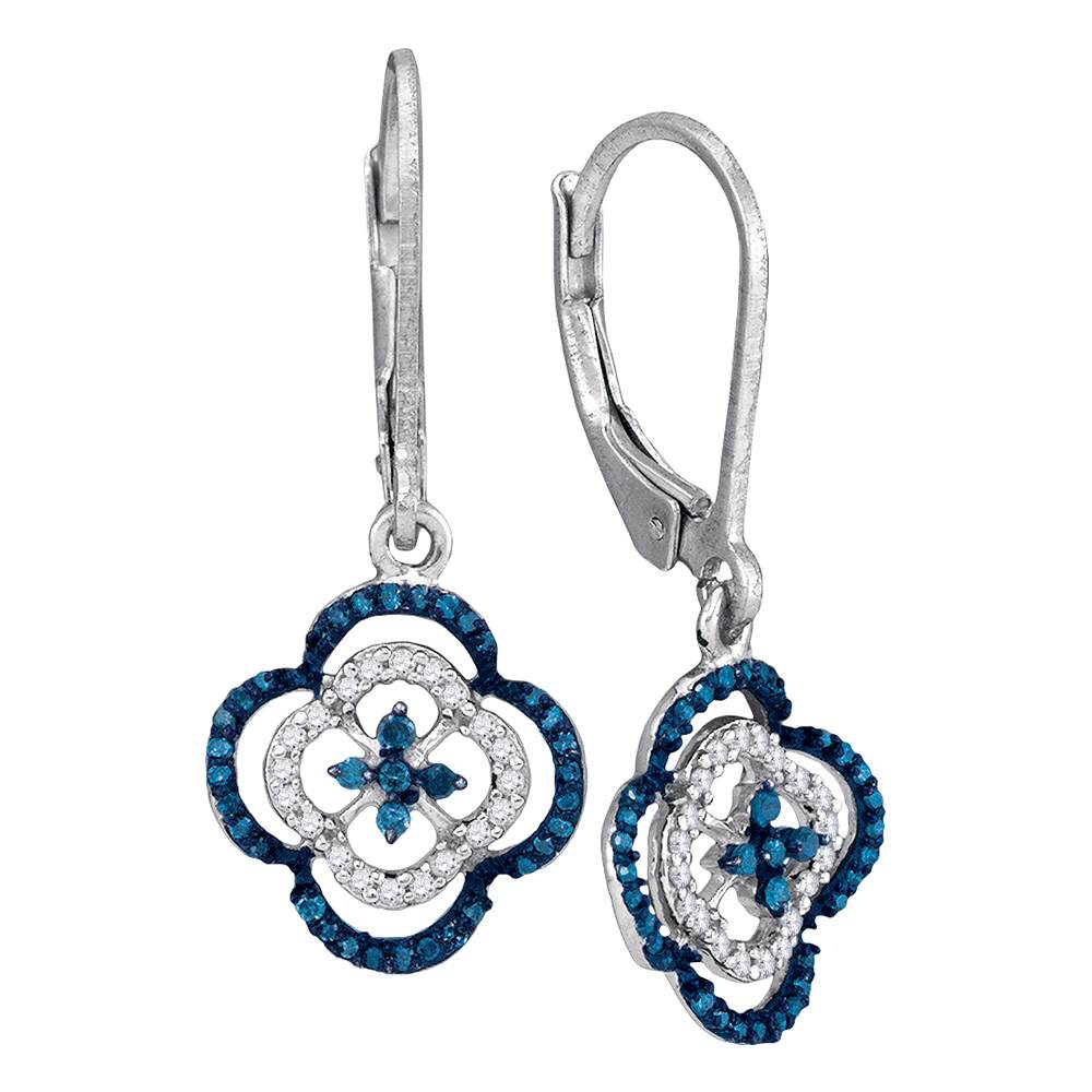 10kt White Gold Womens Round Blue Color Enhanced Diamond Quatrefoil Dangle Earrings 1/3 Cttw