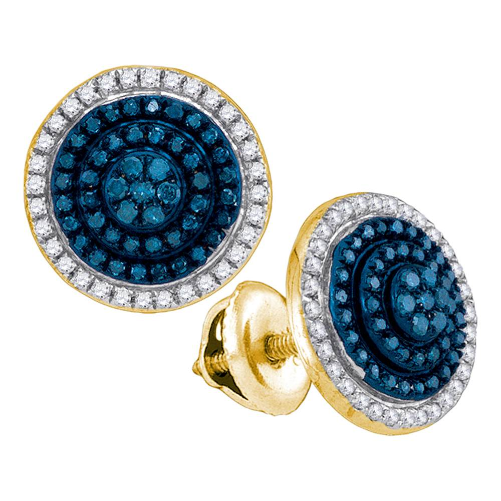 10kt Yellow Gold Womens Round Blue Color Enhanced Diamond Concentric Cluster Earrings 1/2 Cttw
