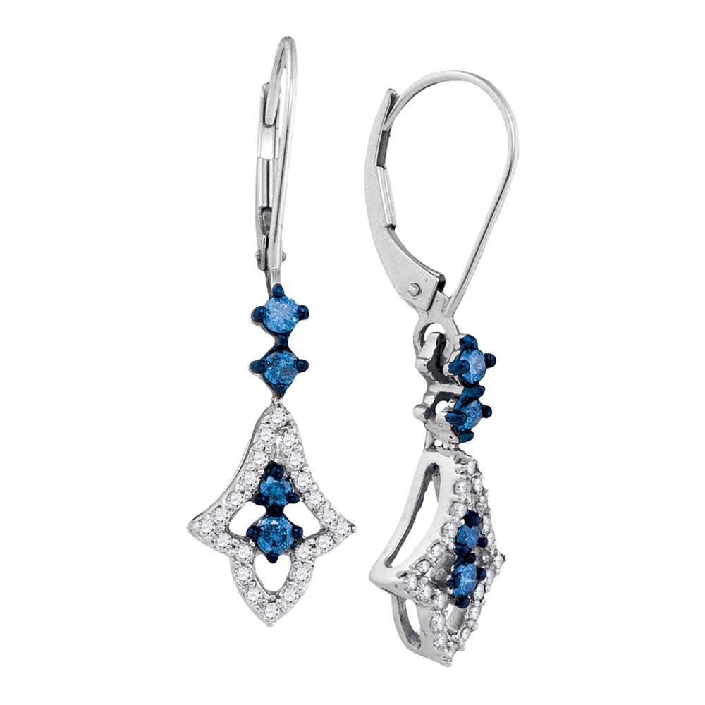 10kt White Gold Womens Round Blue Color Enhanced Diamond Hoop Dangle Earrings 1/2 Cttw