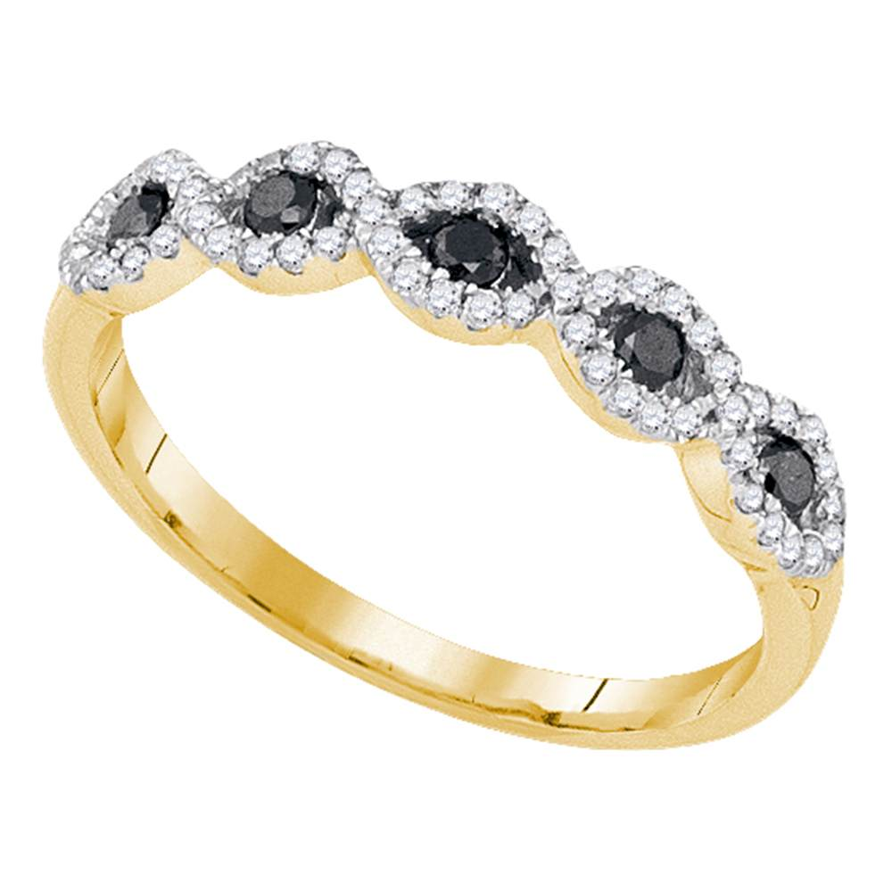 10kt Yellow Gold Womens Round Black Color Enhanced Diamond Band Ring 1/3 Cttw