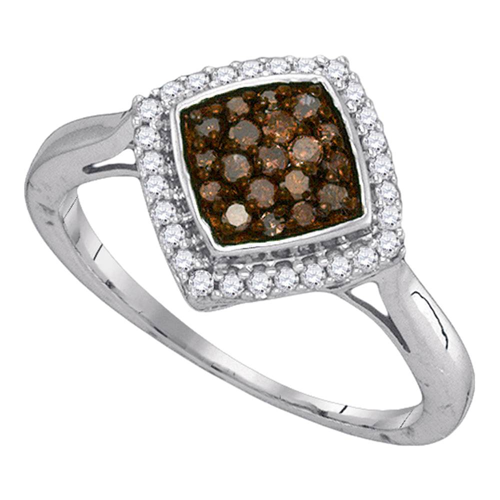 10kt White Gold Womens Round Cognac-brown Color Enhanced Diamond Diagonal Square Cluster Ring 1/3 Cttw