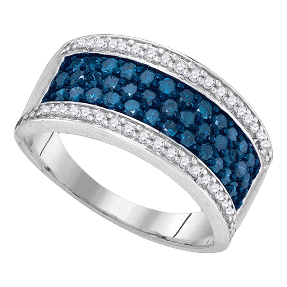 10kt White Gold Womens Round Blue Color Enhanced Diamond Triple Stripe Band 1.00 Cttw