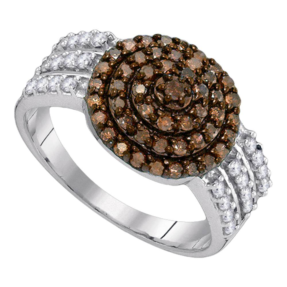 10kt White Gold Womens Round Cognac-brown Color Enhanced Diamond Concentric Cluster Ring 3/4 Cttw