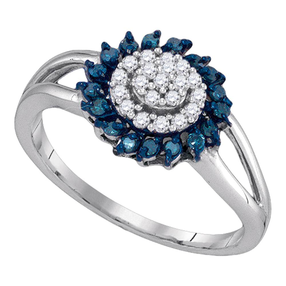10kt White Gold Womens Round Blue Color Enhanced Diamond Circle Frame Cluster Ring 1/4 Cttw