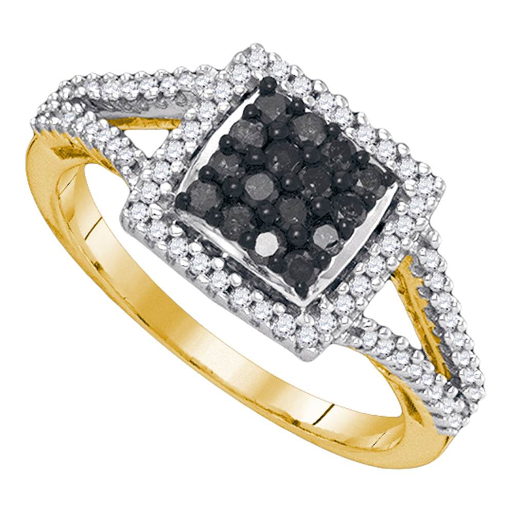10kt Yellow Gold Womens Round Black Color Enhanced Diamond Square Frame Cluster Ring 1/2 Cttw