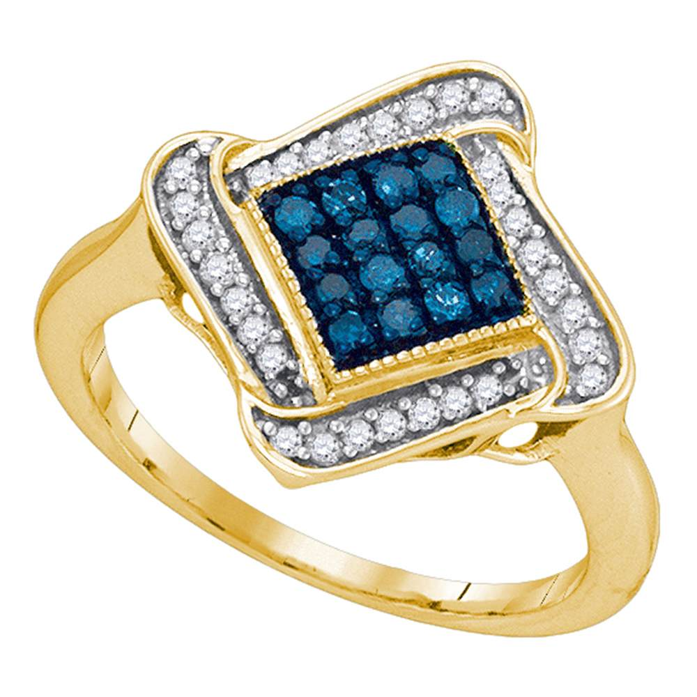 10kt Yellow Gold Womens Round Blue Color Enhanced Diamond Cluster Ring 1/3 Cttw
