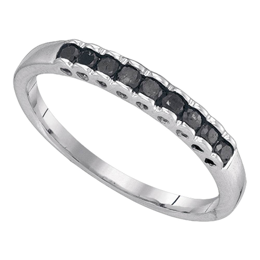 Sterling Silver Womens Round Black Color Enhanced Diamond Single Row Band 1/4 Cttw