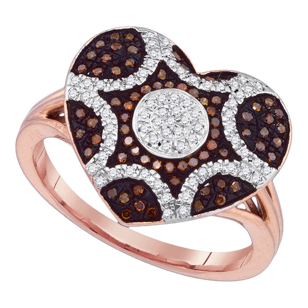 10kt Rose Gold Womens Round Red Color Enhanced Diamond Starburst Heart Cluster Ring 1/3 Cttw