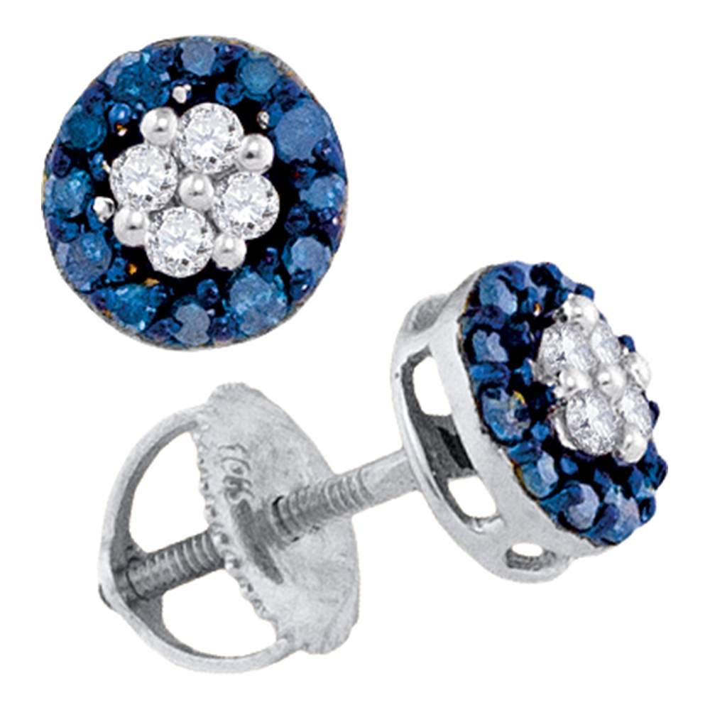 10kt White Gold Womens Round Blue Color Enhanced Diamond Cluster Screwback Earrings 1/3 Cttw