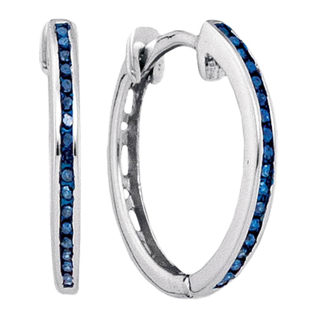 10k White Gold Blue Color Enhanced Round Diamond Womens Slender Unique Hoop Earrings 1/10 Cttw