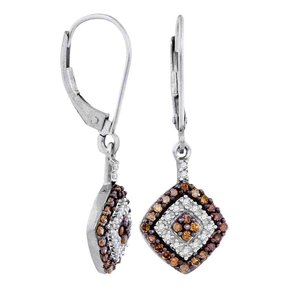 10kt White Gold Womens Round Cognac-brown Color Enhanced Diamond Square Dangle Earrings 1/2 Cttw