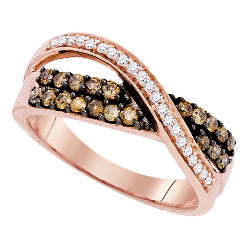 10kt Rose Gold Womens Round Cognac-brown Color Enhanced Diamond Crossover Band Ring 1/2 Cttw