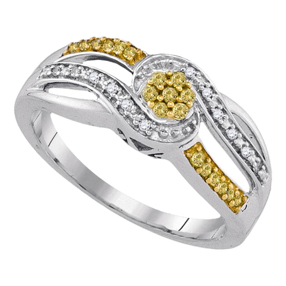 Sterling Silver Womens Round Yellow Color Enhanced Diamond Swirl Cluster Ring 1/5 Cttw