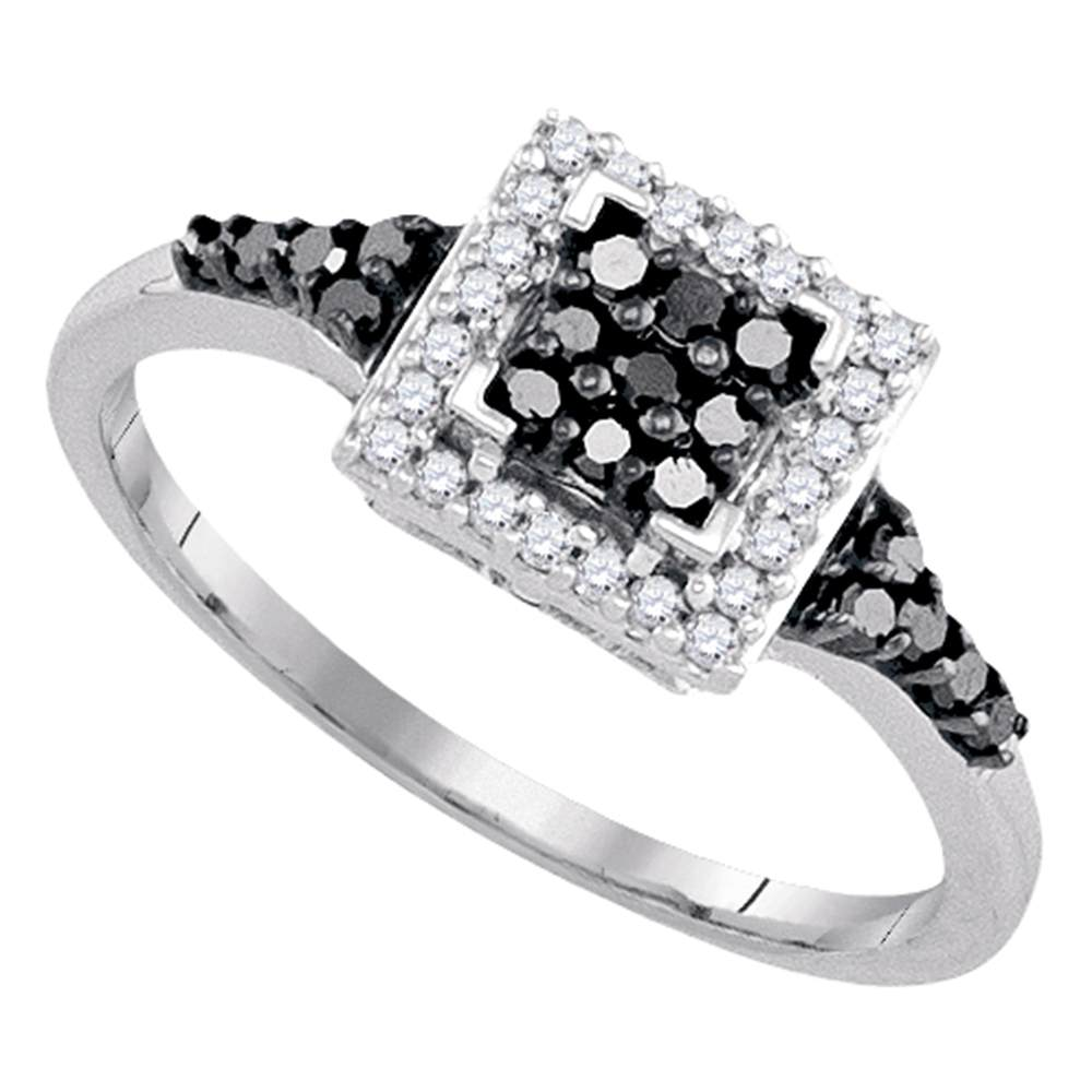 Sterling Silver Black Color Enhanced Round Diamond Womens Square Halo Cluster Ring 1/3 Cttw