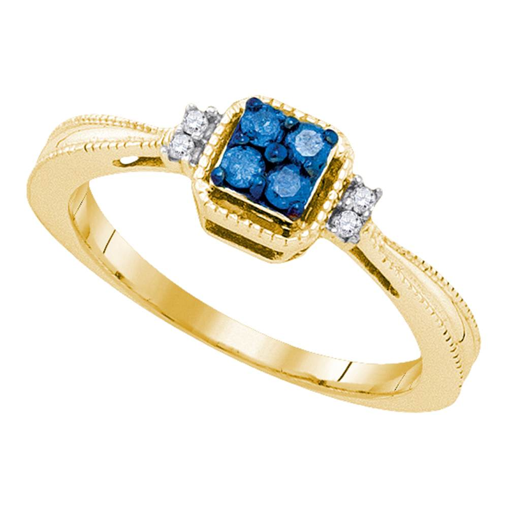 10kt Yellow Gold Womens Round Blue Color Enhanced Diamond Simple Cluster Ring 1/6 Cttw