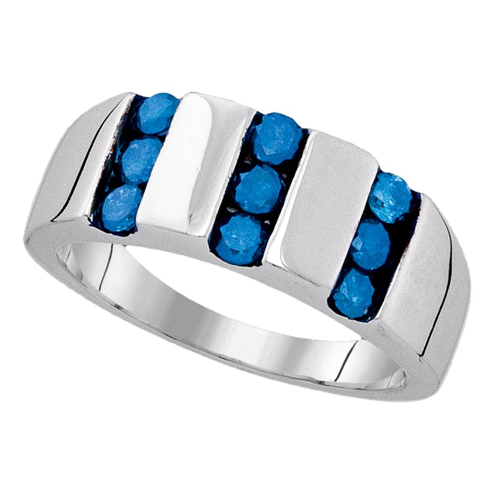 Sterling Silver Mens Round Blue Color Enhanced Channel-set Diamond Triple Row Band 1.00 Cttw