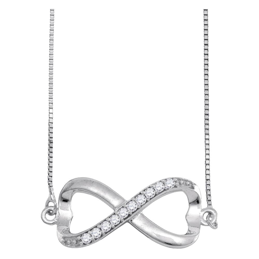 10kt White Gold Womens Round Diamond Infinity Pendant Necklace 1/10 Cttw