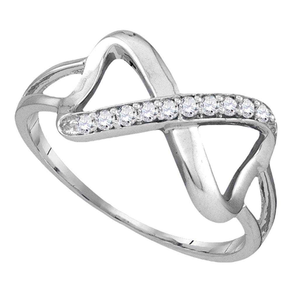 10kt White Gold Womens Round Diamond Infinity Ring 1/10 Cttw