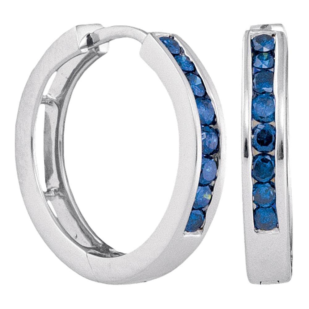 14k White Gold Womens Blue Color Enhanced Round Channel-Set Diamond Hoop Earrings 1/2 Cttw