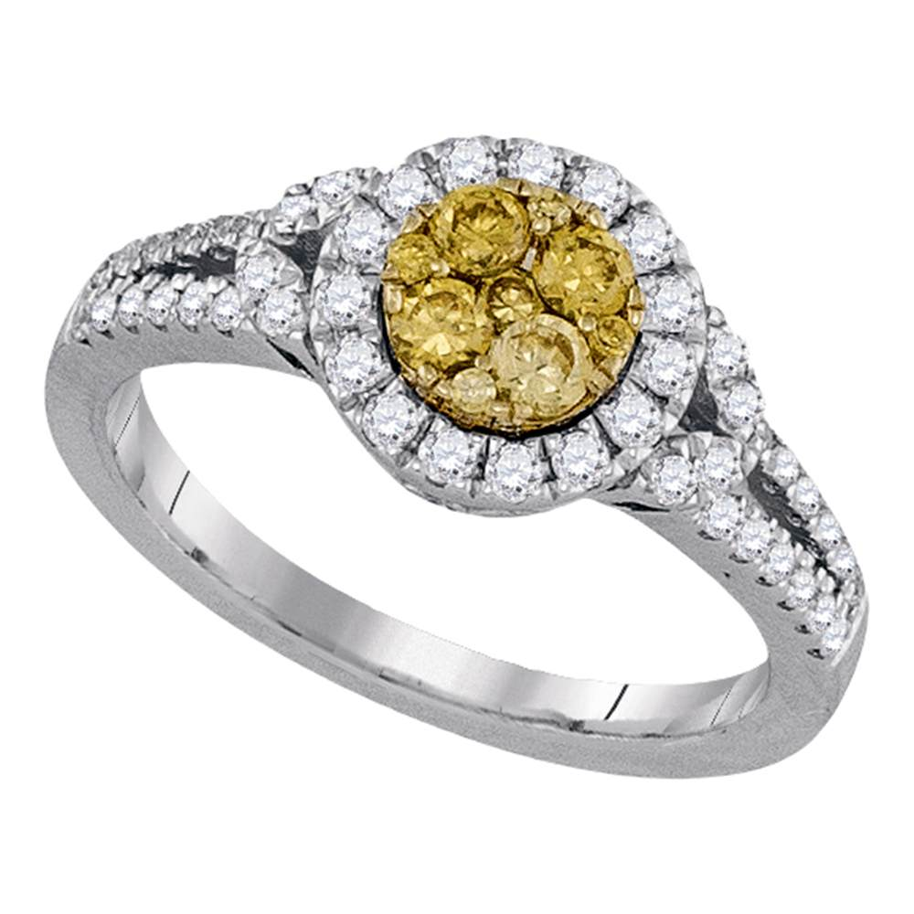 14kt White Gold Womens Round Natural Canary Yellow Diamond Cluster Ring 5/8 Cttw