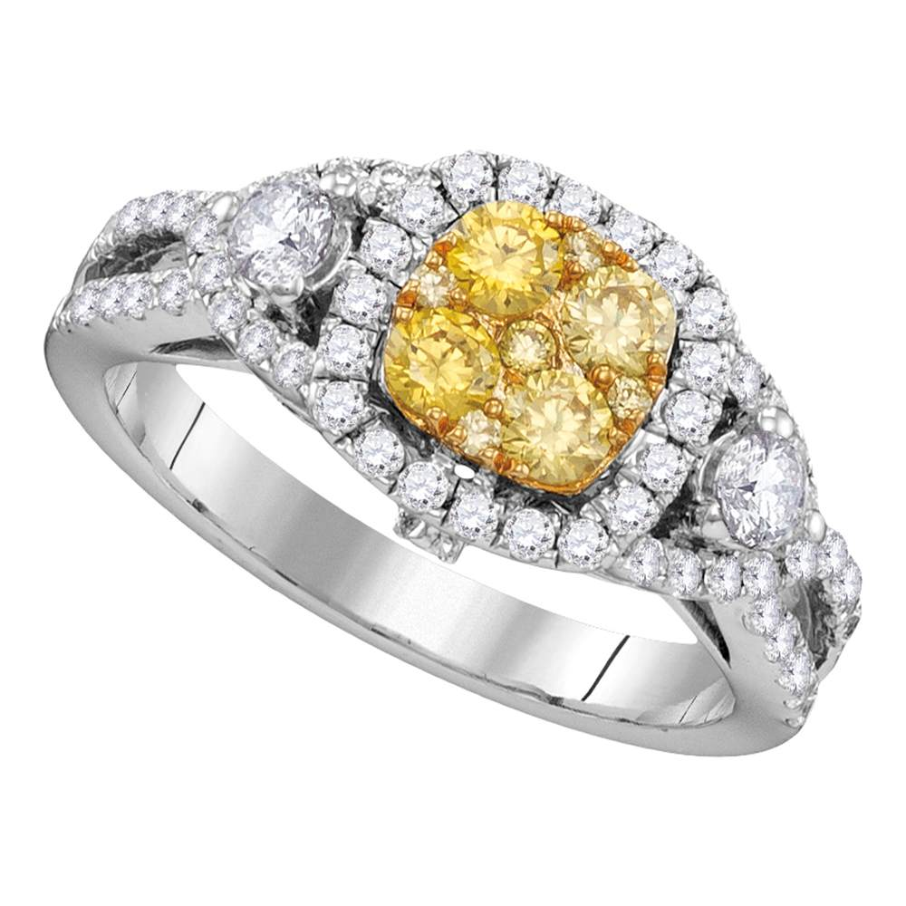 14kt White Gold Womens Round Yellow Diamond Cluster Bridal Wedding Engagement Ring 1-1/8 Cttw
