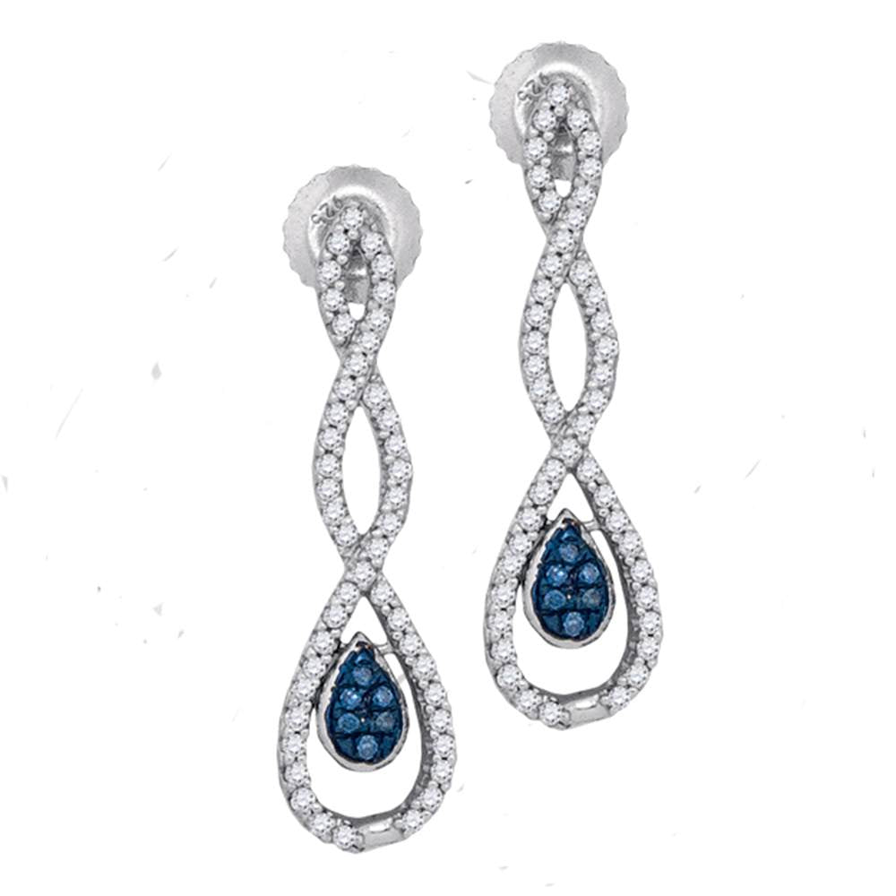 10kt White Gold Womens Round Blue Color Enhanced Diamond Dangle Earrings 1/4 Cttw
