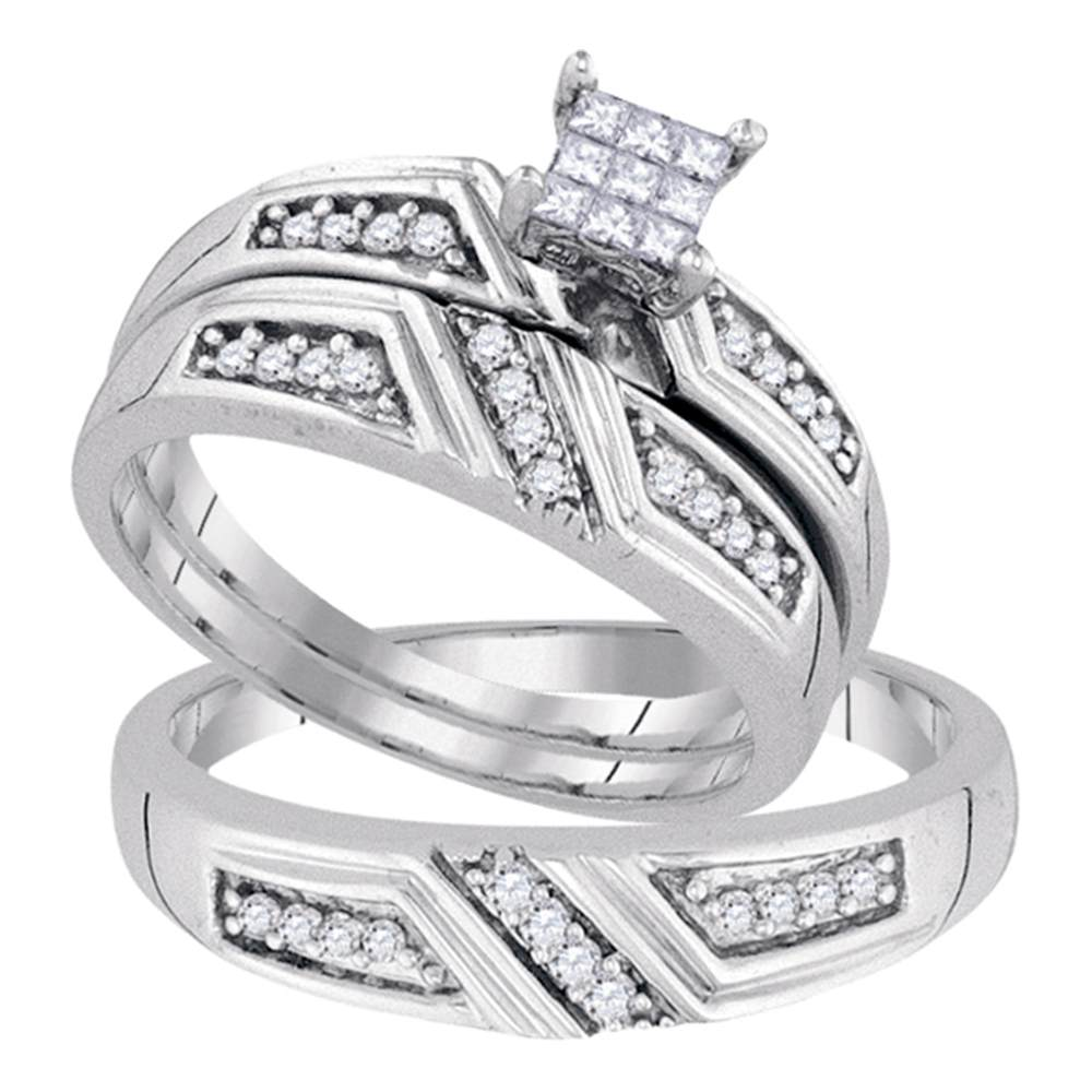 Sterling Silver His & Hers Princess Diamond Cluster Matching Bridal Wedding Ring Band Set 1/3 Cttw