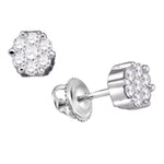 14k White Gold Round Diamond Flower Cluster Womens Screwback Stud Earrings 1/6 Cttw