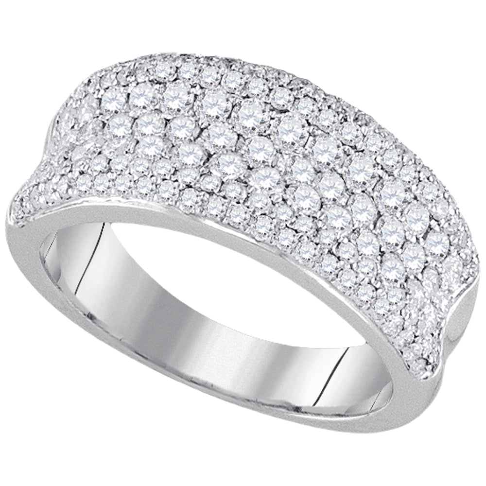 14k White Gold Womens Round Diamond Pave Wedding Anniversary Band Ring 1-1/3 Cttw
