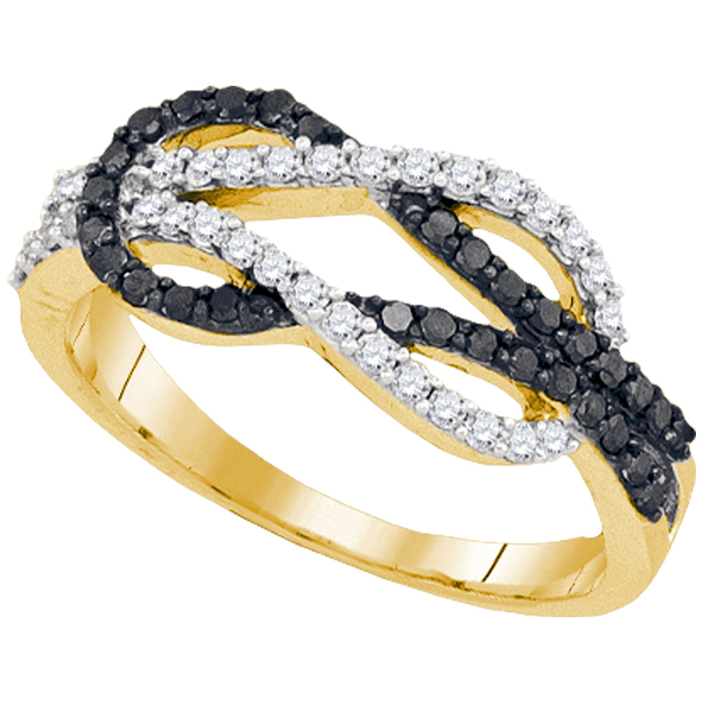 10kt Yellow Gold Womens Round Black Color Enhanced Diamond Double Linked Knot Band Ring 1/2 Cttw