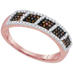 10kt Rose Gold Womens Round Red Color Enhanced Diamond Square Cluster Band 1/3 Cttw